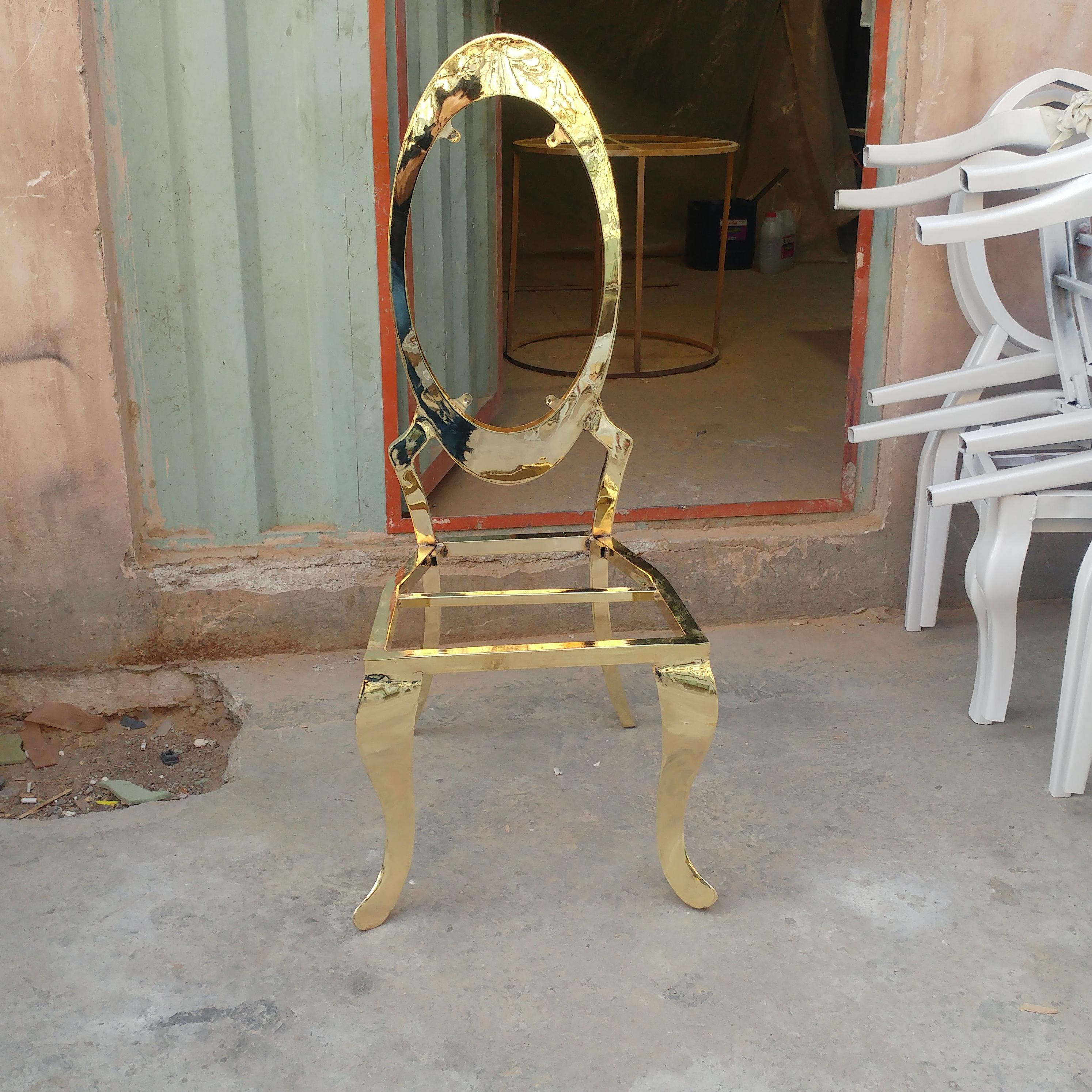 صندلی مبله تالار با ابکاری طلایی و استیل پشت بیضی